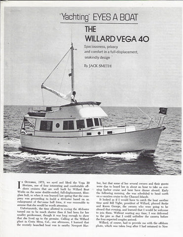 Willard 40 Yachting Magazine Brochure
