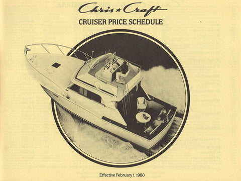 Chris Craft 1980 Cruisers Price List