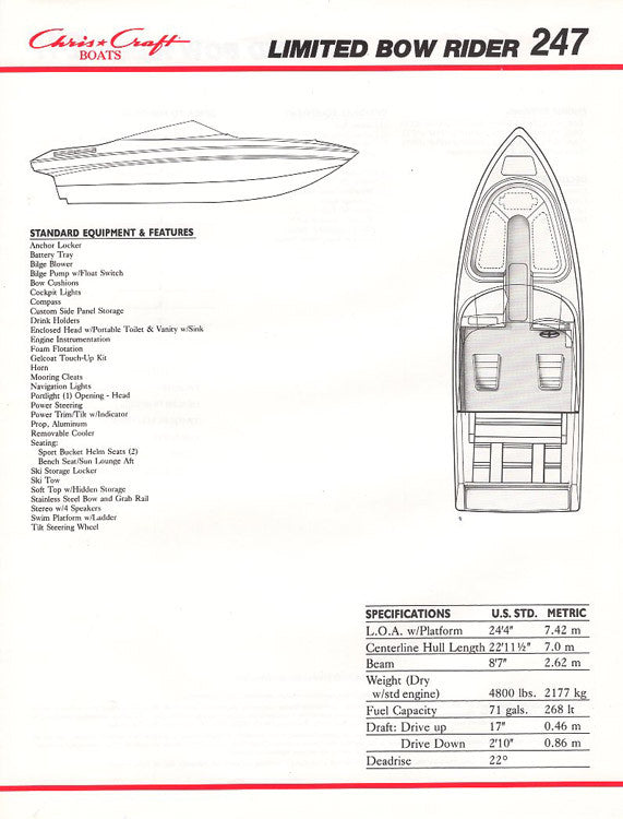 Chris Craft 247 Limited Bowrider Specification Brochure