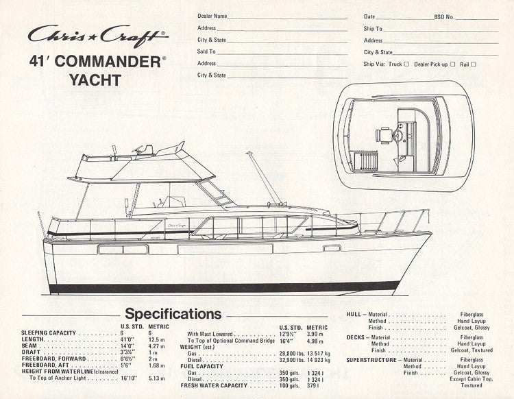 Chris Craft Commander Yacht 41 Specification Brochure
