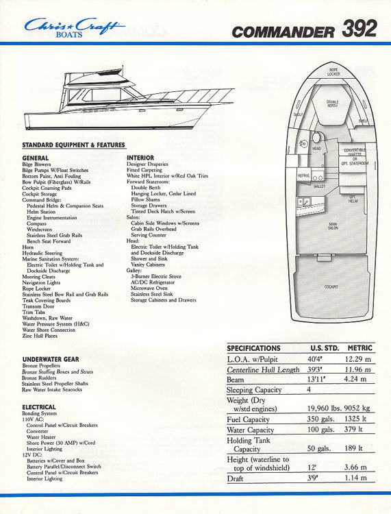 Chris Craft Commander 392 Brochure