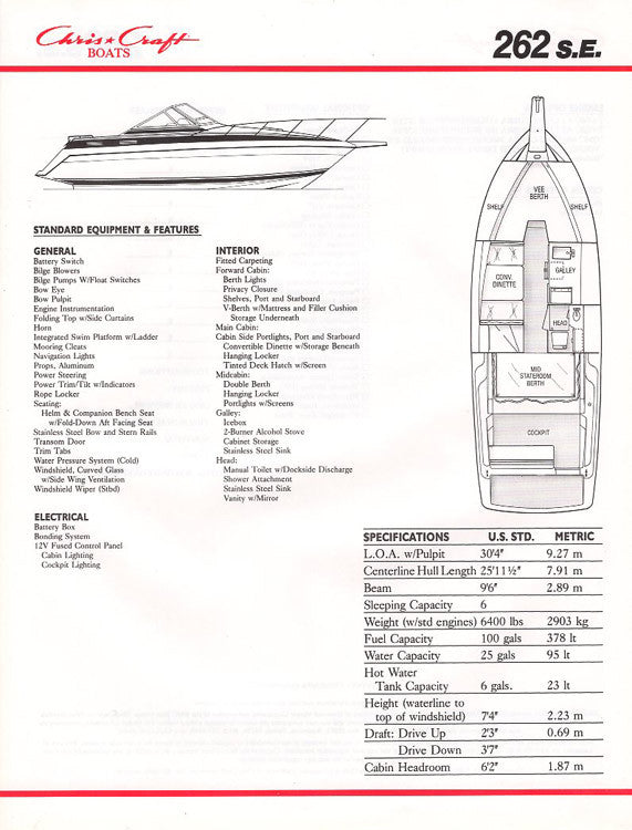 Chris Craft 262SE Brochure