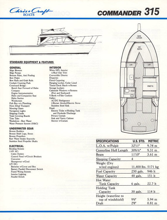 Chris Craft Commander 315 Brochure