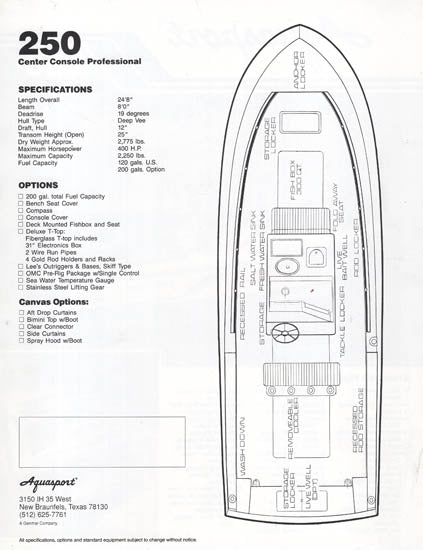 Aquasport 250 Center Console Professional Brochure