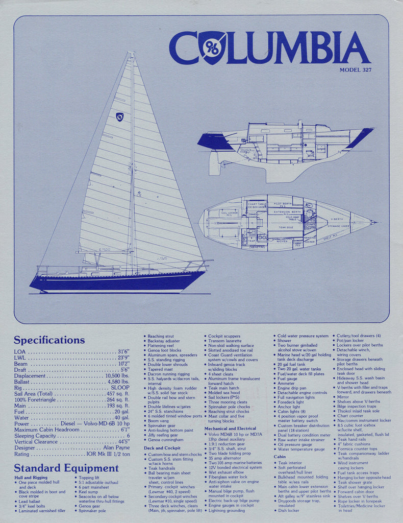 Columbia 9.6 Specification Brochure / Price List