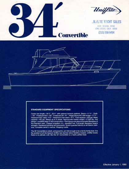 Uniflite 34 Convertible Specification Brochure