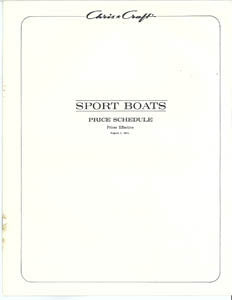 Chris Craft 1972 Sport Boats Specification Brochure