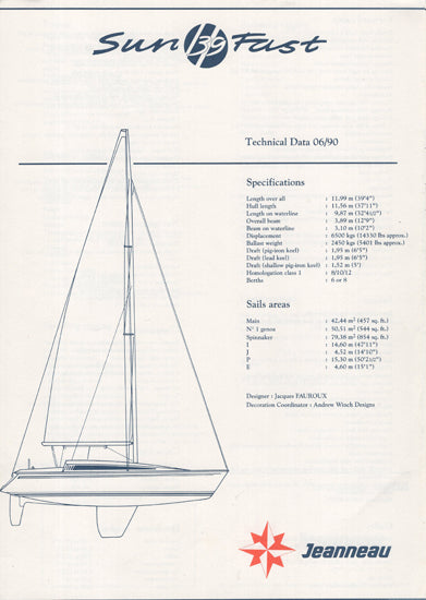 Jeanneau Sun Fast 39 Specification Brochure