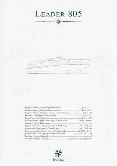 Jeanneau Leader 805 Specification Brochure