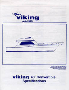 Viking 43 Convertible Specification Sheet