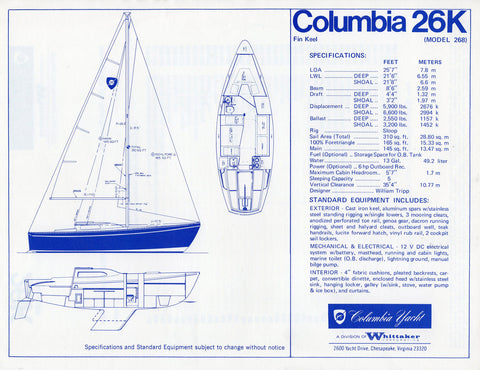 Columbia 26K Specification Brochure
