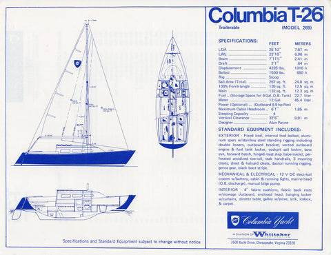 Columbia T26 Specification Brochure