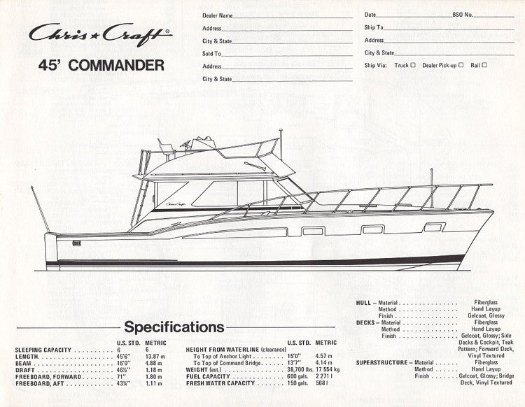 Chris Craft Commander 45 Specification Brochure
