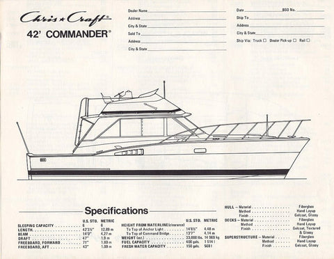 Chris Craft Commander 42 Specification Brochure – SailInfo I