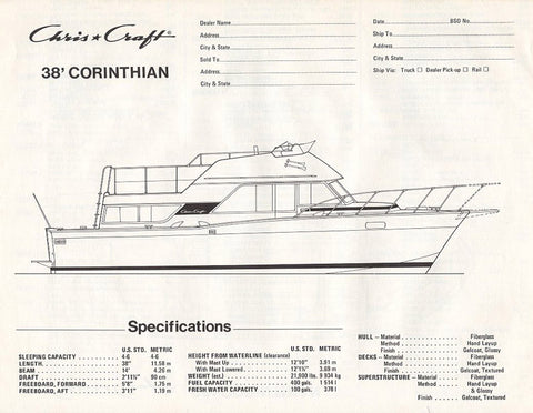 Chris Craft Corinthian 38 Specification Brochure