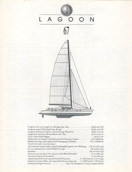 Lagoon 67 Specification Brochure