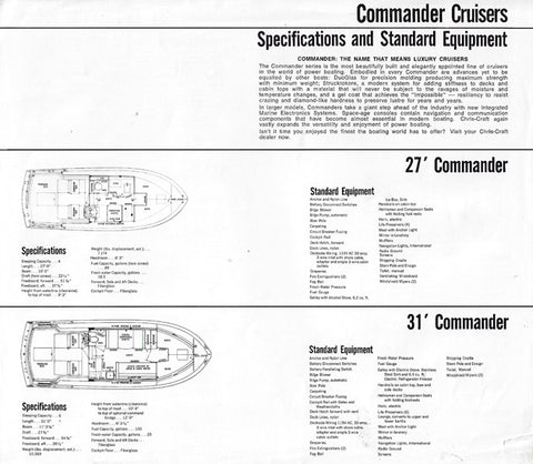 Chris Craft 1970 Commander Specification Brochure