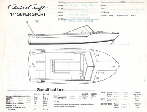 Chris Craft 17 Super Sport Specification Brochure