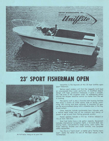 Uniflite 23 Sport Fisherman Open Brochure