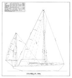 Columbia 34 Sail Plan - Yawl