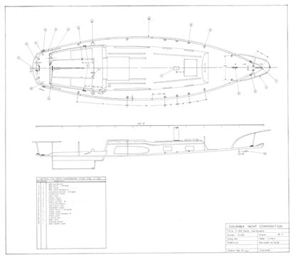 Columbia 29 Mark II Deck Hardware Plan
