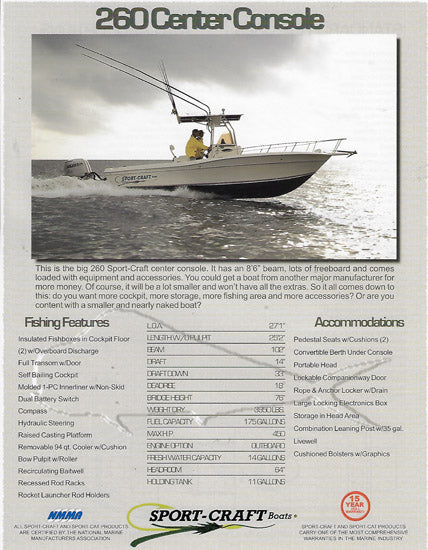 Sport Craft 260 Center Console Brochure