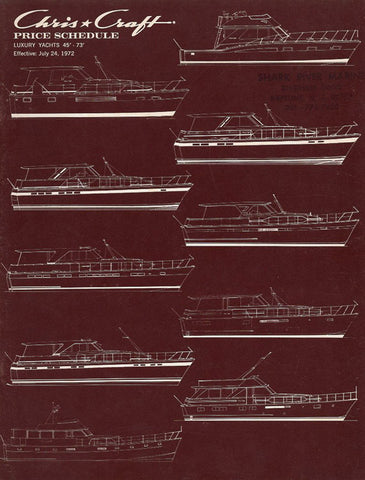 Chris Craft 1973 Luxury Yachts Price List