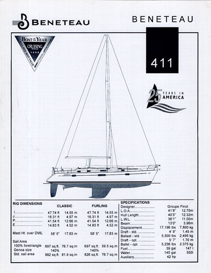 Beneteau 411 Specification Brochure