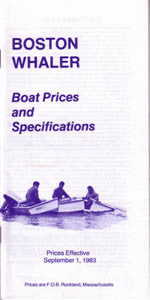 Boston Whaler 1984 Specification & Price List Brochure