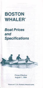 Boston Whaler 1985 Specification & Price List Brochure