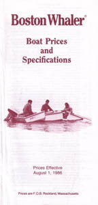 Boston Whaler 1987 Specification & Price List Brochure