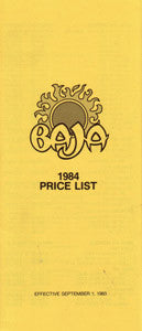 Baja 1984 Price List