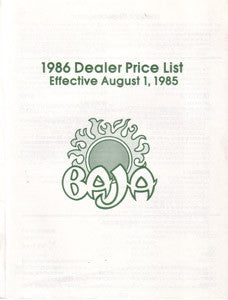 Baja 1986 Dealer Price List