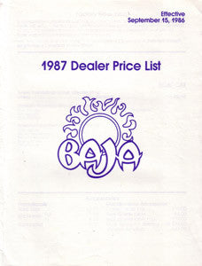 Baja 1987 Dealer Price List
