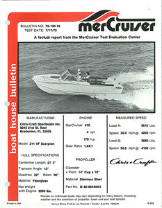 Chris Craft Scorpion 211 VF Mercruiser Boat House Bulletin Brochure