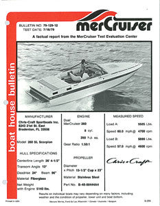 Chris Craft Scorpion 260SL Mercruiser Boat House Bulletin Brochure