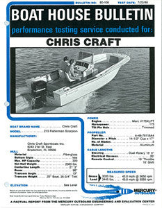 Chris Craft Scorpion 213 Fisherman Mercury Boat House Bulletin Brochure