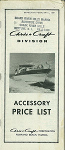 Chris Craft 1961 Roamer Accessory Price List