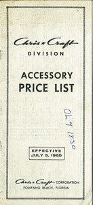 Chris Craft 1960 Accessory Price List