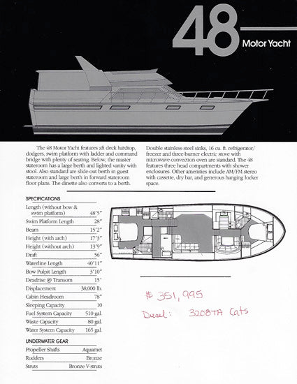 Carver Californian 48 Motor Yacht Specification Brochure
