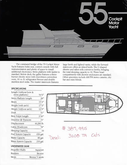 Carver Californian 55 Cockpit Motor Yacht Specification Brochure