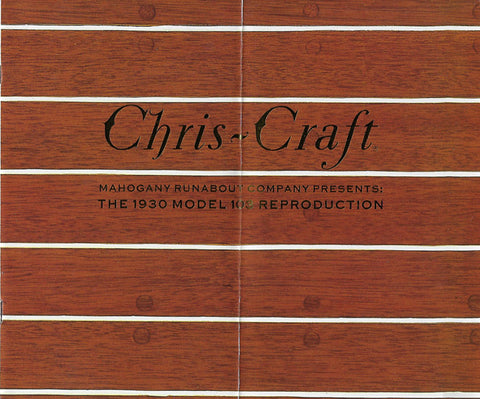 Chris Craft 1930 Ruanbout Model 103 Reproduction Brochure