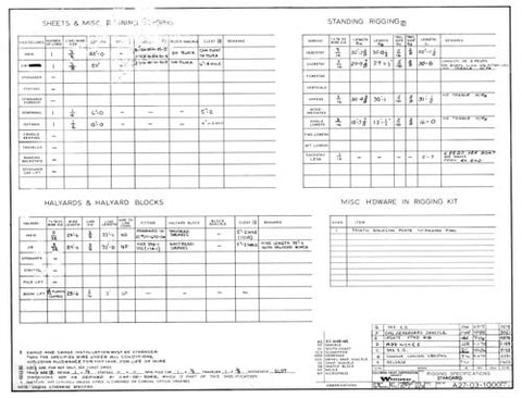 Coronado 27 Rigging Specifications Plan - Standard