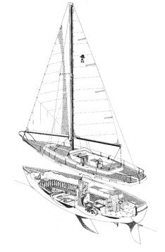 Coronado 32 Sail Plan and Interior Cut Away Drawing