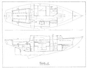 Columbia 31 Interior Arrangement - Settee Plan