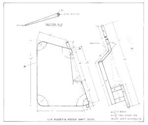Columbia 31 Rudder & Rudder Shaft Detail Plan
