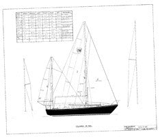 Columbia 36 Sail Plan - Yawl