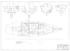 Columbia 40 Interior Layout & Joiner Sections with Piping Routing Plan