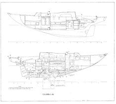 Columbia 40 Port & Starboard Profile Plan