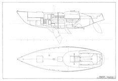 Columbia 43 Interior Arrangement Plan - Deck Centerboard